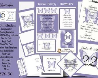 Delux Lavender Butterfly Wedding Invitation Kit on CD