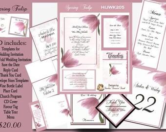 Delux Spring Tulip Wedding Invitation Kit on CD