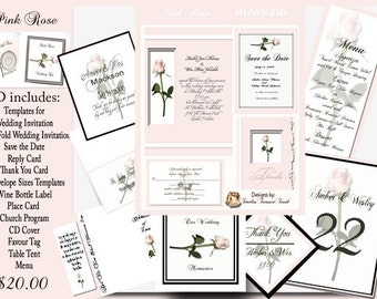 Pink Rose Delux Wedding Template Kit on CD