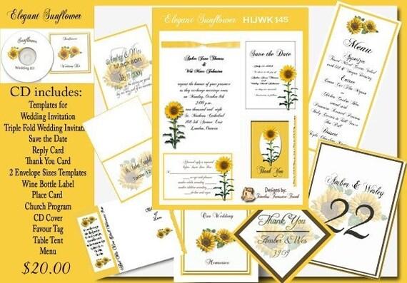 Delux Sunflower Wedding Invitation Kit on CD