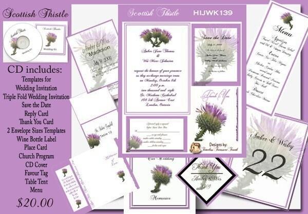 Wedding Invites Scotland: Delux Scottish Thistle Wedding Invitation Kit On CD