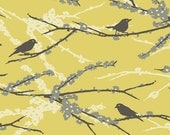 Joel Dewberry Aviary 2 Mustard Sparrows Cotton Quilting Fabric - MizzFabric