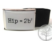 Math Equation Hip equals 2b squared on Chrome Buckle with Black web Belt