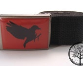 Bare Tree Apparel Black Bird on Red background on Antiqued Buckle with  Black cotton web Belt