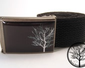 Solitary White Bare Tree on black background on Antiqued Steel Buckle with black cotton belt