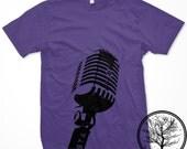 Classic Mic on Purple color Mens Unisex Large 2001 American Apparel T-shirt