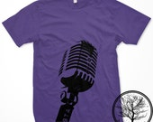 Classic Mic on Purple color Mens Unisex Small 2001 American Apparel T-shirt