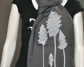 Abstract Tree print on Extra Long Asphalt Gray color Jersey Scarf