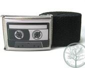 "1.5"" Old School Gray Cassette Tape on Antiqued buckle with Black web Belt"