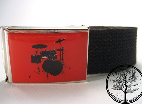 Black 5 piece drum kit RED background on chrome color nickel Buckle with Black cotton web Belt