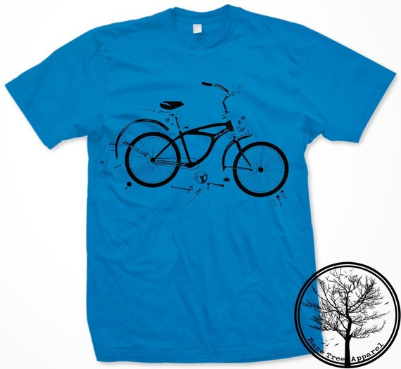 Exploded Bike Diagram on Unisex/Mens Small Teal American Apparel t-shirt
