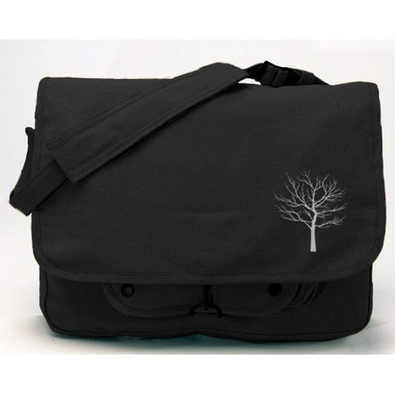 Military style Black color Bare Tree Apparel Embroidered Messenger Bag