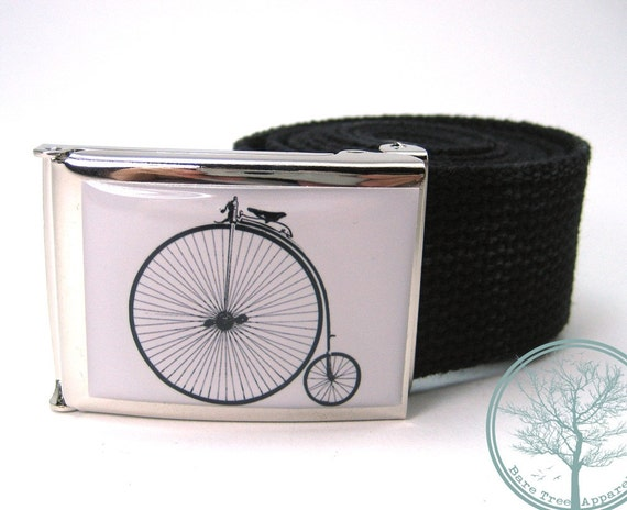 "1.5"" Penny Farthing old school bike on white background on nickel polish buckle with Black web Belt"