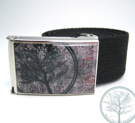Bare Tree Apparel Circle Tree with Gray Background on Chrome color Nickel Buckle with Black Web Belt