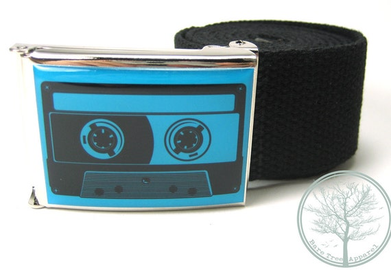 """1.5"""" Old School Aqua colored Cassette Tape on Chrome colored Nickel buckle with Black web Belt"""