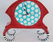 ceramic mantle clock red and turquoise