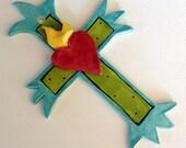 turquoise ceramic cross
