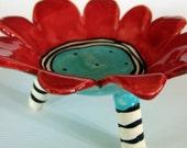 flower dish ceramic red & turquoise