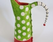Colorful Pitcher or Vase with red & green polka dots
