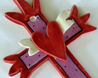 clay ceramic cross :) red & purple whimical heart with wings