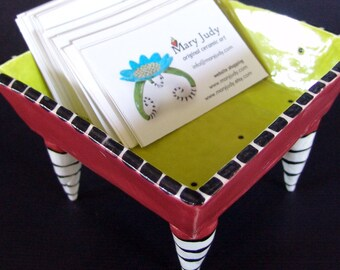 whimsical Dr Seuss Red Bowl pottery dish w/ Black & White striped legs business card holder, serving dish, ceramic bowl