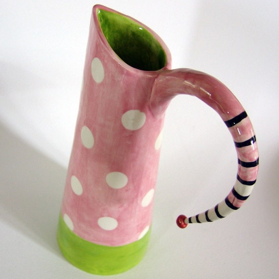 Pretty Pink polka dot ceramic pitcher for spring, baby shower, pink lover girl
