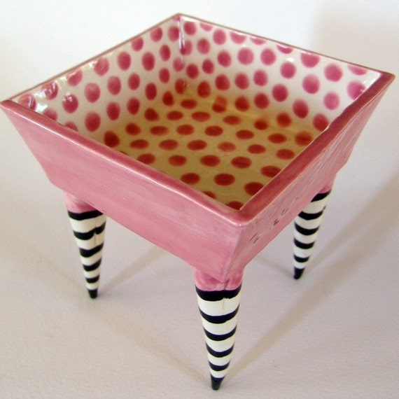 Mother's Day whimsical pottery Serving Bowl pretty pink polka-dot square dish with striped whimsical legs