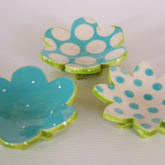 Turquoise Flowers ceramic dish set