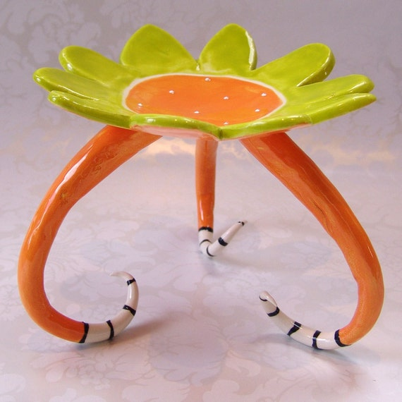 colorful tangerine flower dish candle holder