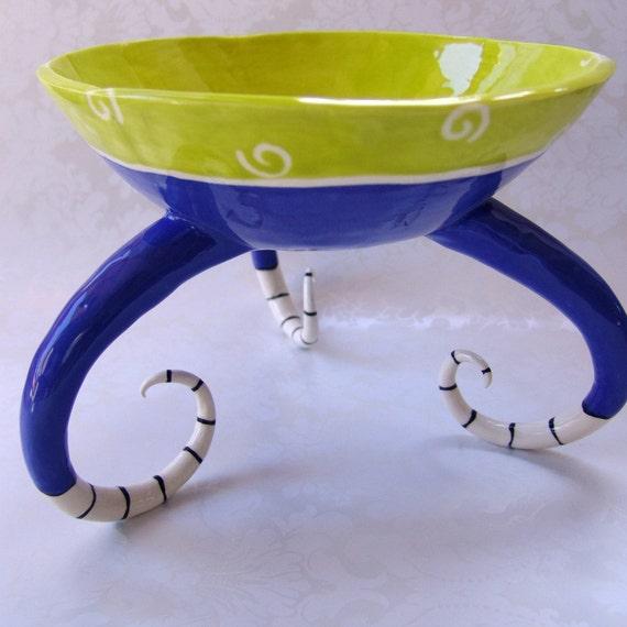 colorful ceramic serving bowl :) deep blue & chartreuse home decor