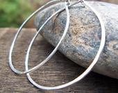 Sterling Silver Hammered Hoop Earrings - Argentium Sterling Earrings Large 1.25 inch