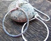 Silver Hoop Dangle Earrings - Argentium Sterling, Medium, Minimalist, Simple, Hammered Teardrop