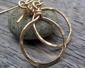 14KT Gold Fill Earrings - Dangle hoops, Modern, Simplicity, Gold, Hammered Hoop
