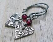 Silver Heart Earrings - Fine Silver, Sterling Silver, Valentine, Red Garnet Gemstone, Arrow