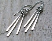 Silver Earrings - Hammered Sticks,  Argentium Sterling Silver, Chevron design, Southwest, Tribal Fringe
