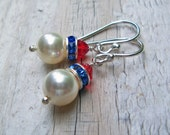 Swarovski Pearl Crystal Earrings Red White and Blue... Patriot
