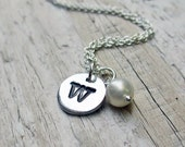 Silver Initial Necklace - Personalized Jewelry Letter Pendant Charm Sterling Silver Fine Silver PMC Mothers Day Gift