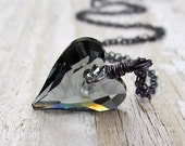 Black Diamond Crystal Heart Necklace - Swarovski Crystal, Oxidized Sterling Silver, Charcoal Gray, Halloween, Steampunk, Wild Heart