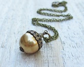 Pearl Acorn Necklace -  Swarovski Crystal Pearl, Brass Chain, Bright Gold, Woodland - BeadinByTheSea