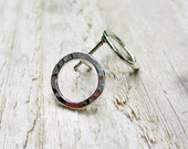 Silver Circle Studs - Sterling Silver, Modern, Post Earrings, Textured, Hammered