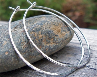XL Sterling Silver Hoop Earrings, Sterling Silver, Hammered Silver, Extra Large, Argentium Silver, Modern, Classic, Bohemian, Plain Hoops