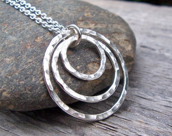 Silver Circle Necklace - Hammered Rings, Sterling Silver, Modern, Classic