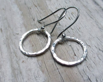 Hammered Silver Circle Earrings - Argentium Sterling Silver, Modern, Simple, Dangle