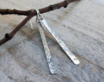 Silver Sticks Hammered Earrings, Fine Silver, Sterling Silver, Rustic, Minimalist, Metal smith, Simple, Modern Jewelry, Long Dangle Earrings