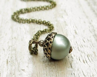 Pearl Acorn Antiqued Brass Necklace -  Swarovski Crystal Pearl, Brass Chain, Powder Green, Woodland, Blue Green
