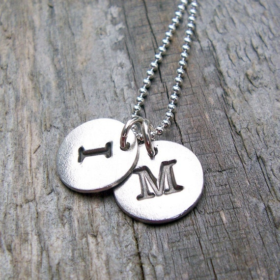 Personalized Initial Necklace, Sterling Silver 2 Charms, Initial, Monogram, Alphabet pendant