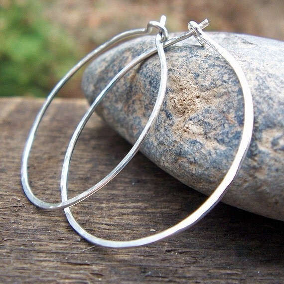 Sterling Silver Hammered Hoop Earrings - Argentium Sterling Earrings Large 1.25 inch