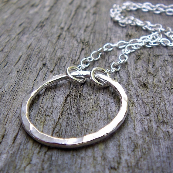 Hammered Silver Circle Necklace - Fine Silver, Sterling Silver, Circle Pendant, Infinity, Modern, Classic, Metalwork