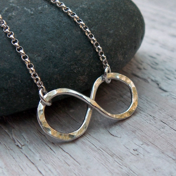 Infinity Necklace - Sterling Silver Hammered Infinity Link Rustic Figure 8 Valentines Love