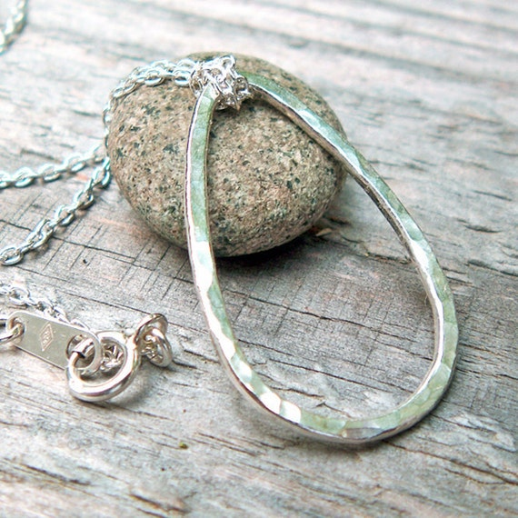 Hammered Silver Necklace - Fine Silver Teardrop, Sterling Silver Chain, Raindrop, Petal, Modern